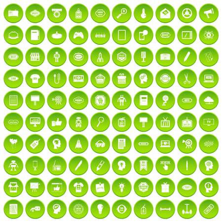 100 creative marketing icons set green circle Illustration