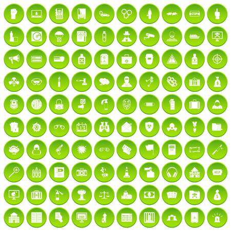 100 crime icons set green circle Illustration