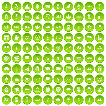 100 europe countries icons set green circle Illustration