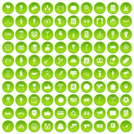 100 gebeurtenissenpictogrammen geplaatst groene cirkel