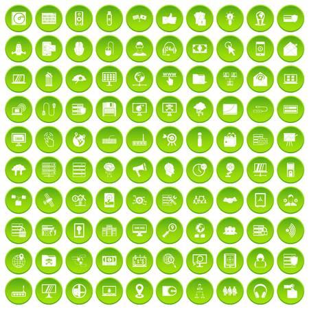 100 のサイバー セキュリティのアイコンが緑色の円を設定します。  イラスト・ベクター素材