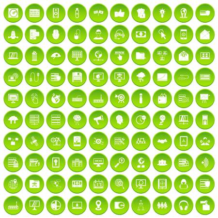 100 cybersecuritypictogrammen geplaatst groene cirkel