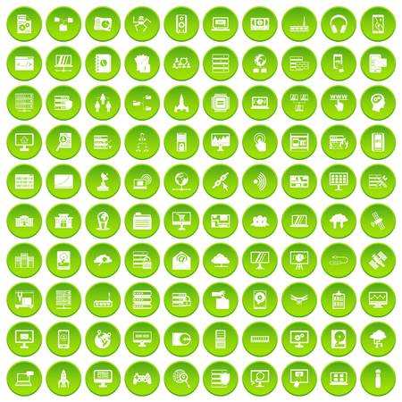 100 database and cloud icons set green circle