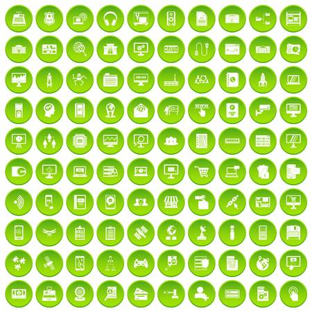 100 database icons set green circle