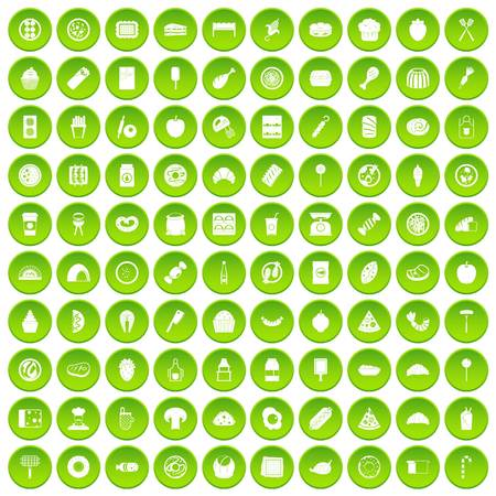 100 delicious dishes icons set green circle