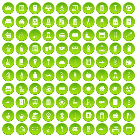 100 cleaning icons set green circle