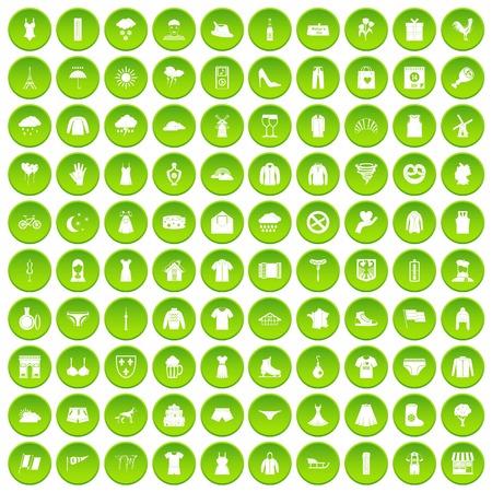100 clothing icons set green circle
