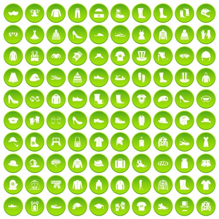 100 clothing and accessories icons set green