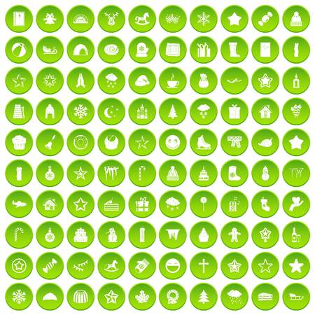 100 christmas icons set green circle Illustration