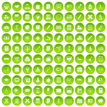 100 calculator icons set green circle