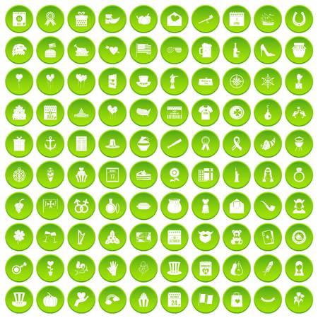100 calendar icons set green circle Illustration