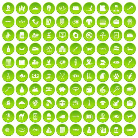 100 cat icons set green circle