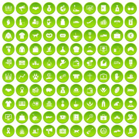 charity collection: 100 charity icons set green circle