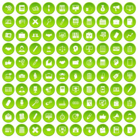 100 finance icons set green circle