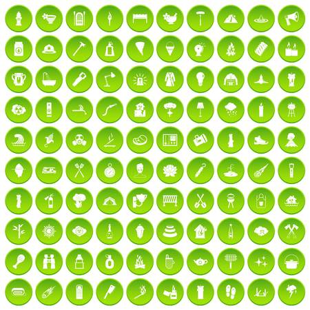 100 fire icons set green circle Illustration