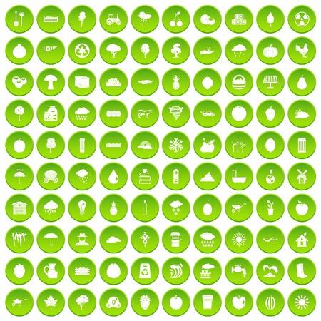 100 fruit icons set green circle