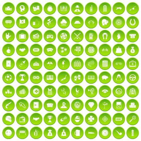100 gambling icons set green circle