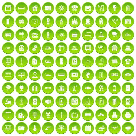 100 electrical engineering icons set green circle Illustration