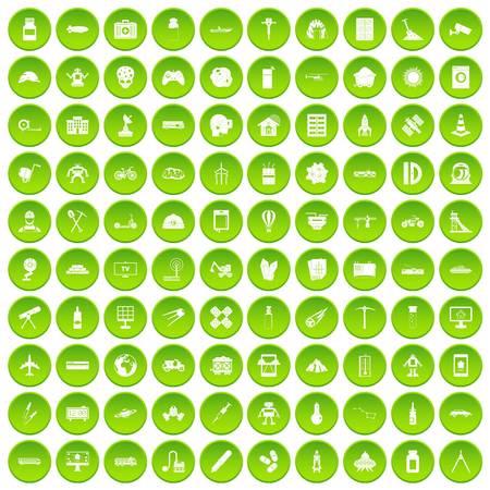 100 development icons set green circle
