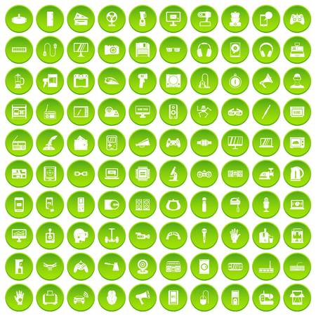 100 device app icons set green circle