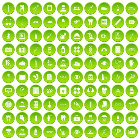 100 doctor icons set green circle Illustration