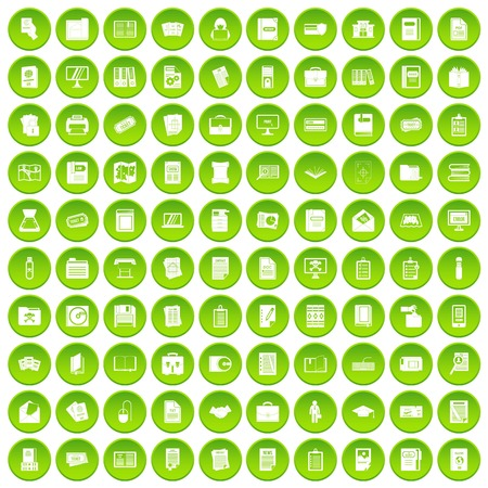 100 document icons set green circle Illustration