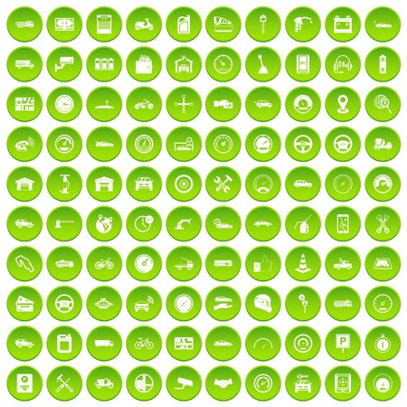 100 garage icons set green circle isolated on white background vector illustration