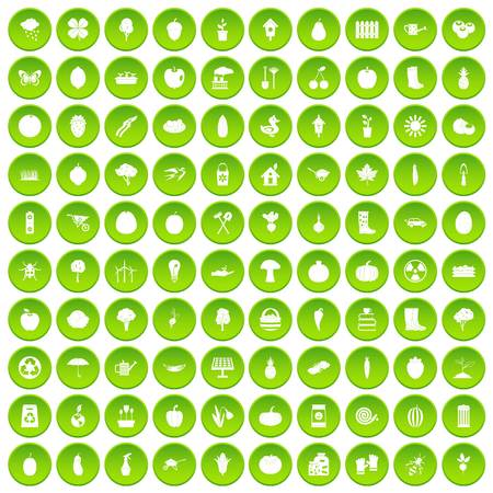 100 garden icons set green circle isolated on white background vector illustration Illustration