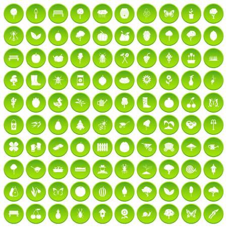 100 gardening icons set green circle isolated on white background vector illustration Çizim