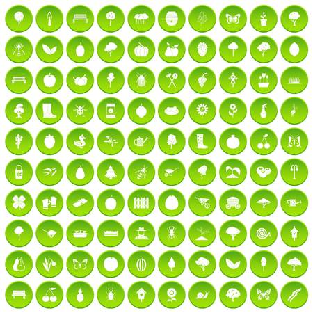 100 gardening icons set green circle isolated on white background vector illustration Illustration