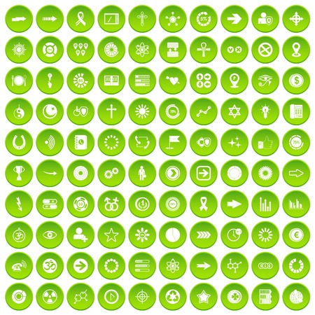 love of money: 100 graphic elements icons set green circle isolated on white background vector illustration