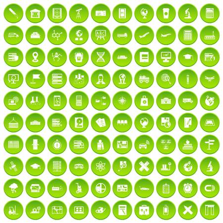 100 globe icons set green circle isolated on white background vector illustration Illustration
