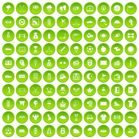 100 golf icons set green circle isolated on white background vector illustration