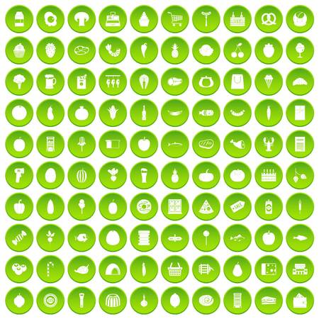 100 grocery shopping icons set green circle isolated on white background vector illustration Illustration