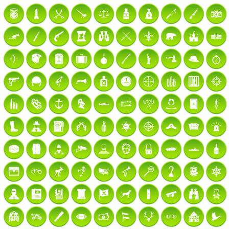 100 guns icons set green circle isolated on white background vector illustration