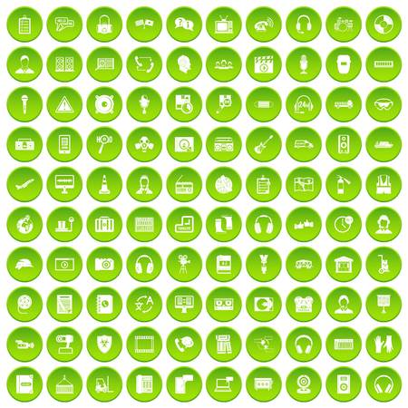 100 headphones icons set green circle isolated on white background vector illustration