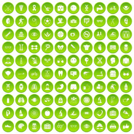 100 health icons set green circle isolated on white background vector illustration