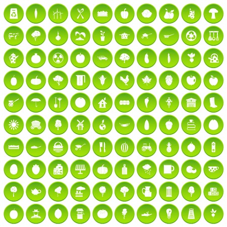 100 health food icons set green circle isolated on white background vector illustration