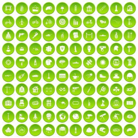 100 helmet icons set green circle isolated on white background vector illustration