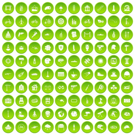 100 helmet icons set green circle isolated on white background vector illustration