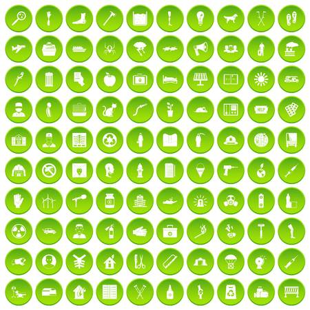 100 help icons set green circle isolated on white background vector illustration