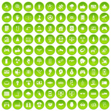100 hi-tech icons set green circle isolated on white background vector illustration