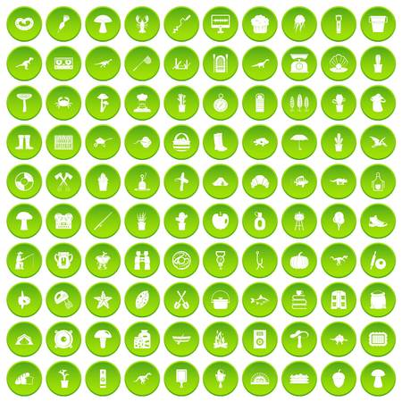 100 hobby icons set green circle isolated on white background vector illustration Illustration