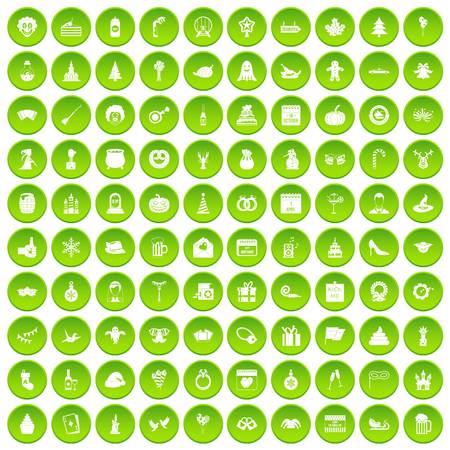 100 holidays icons set green circle isolated on white background vector illustration Illustration