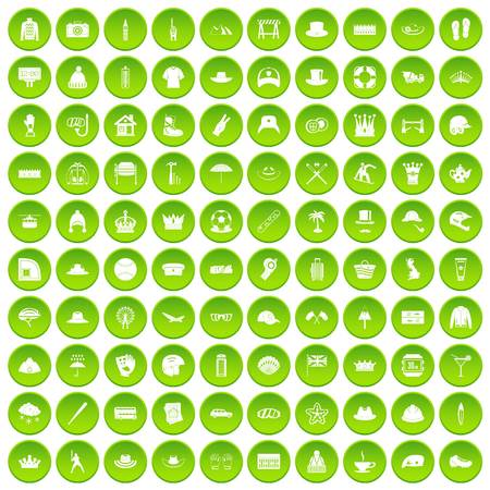 100 hat icons set green circle isolated on white background vector illustration Illustration