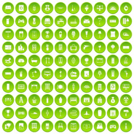 100 home icons set green circle isolated on white background vector illustration