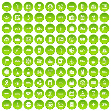 100 gas station icons set green circle isolated on white background vector illustration