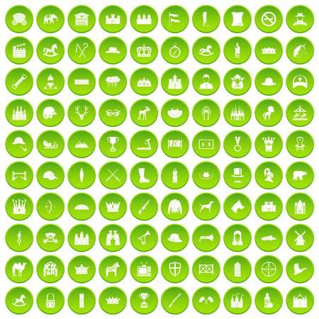 100 horsemanship icons set green circle isolated on white background vector illustration