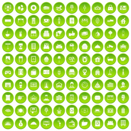 guests: 100 hotel icons set green circle isolated on white background vector illustration Illustration