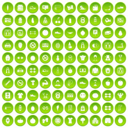 no correr: 100 gym icons set green circle isolated on white background vector illustration